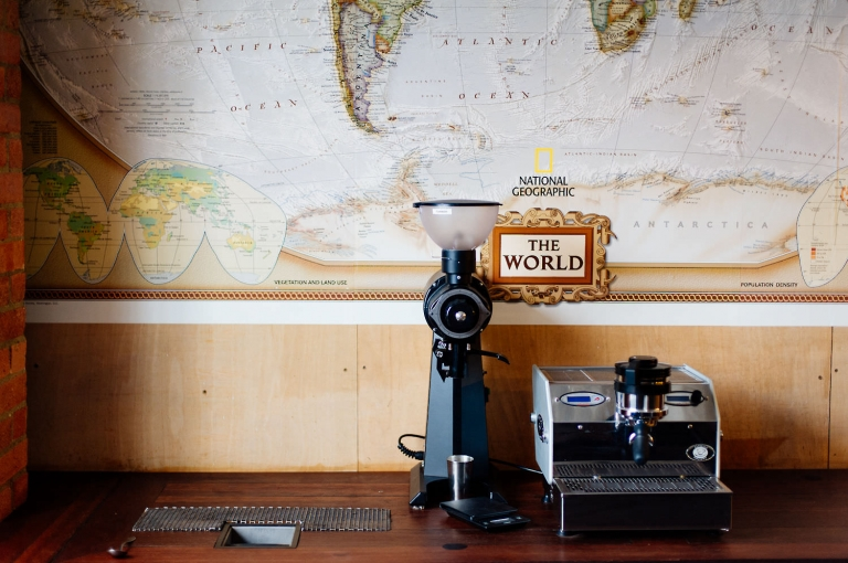 coffee machine and map of the world