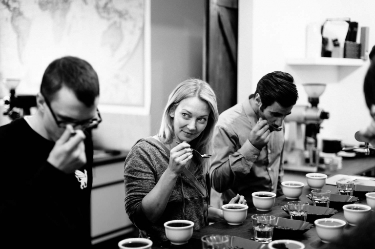 taking part in a coffee tasting