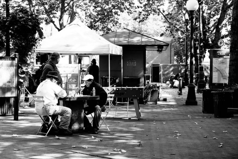 People sitting chatting in a seattle square